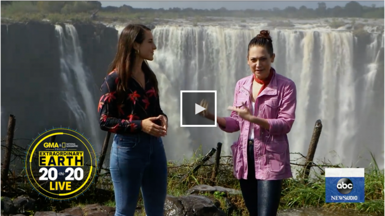 """Earlier this week, Nichole Sobecki was interviewed live from Victoria Falls for a segment of """"Extraordinary Earth: 20 in 2020"""" on Good Morning America, a series presented in partnership with National Geographic. The segment explored the profound environmental changes happening across the African continent — and the individual and collective responsibility to our shared planet."""