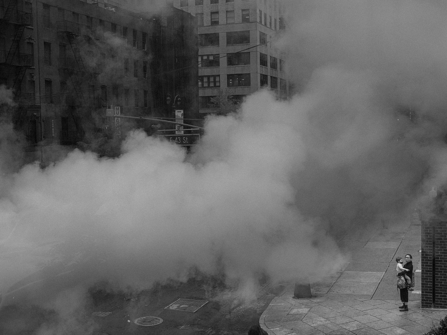 black and white photograph of steam on Third Ave, Midtown East, September 30, 2020